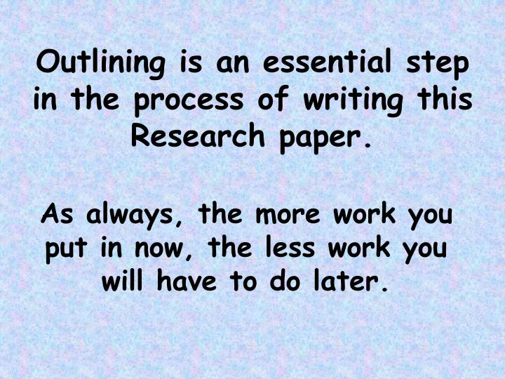 Outlining is an essential step in the process of writing this