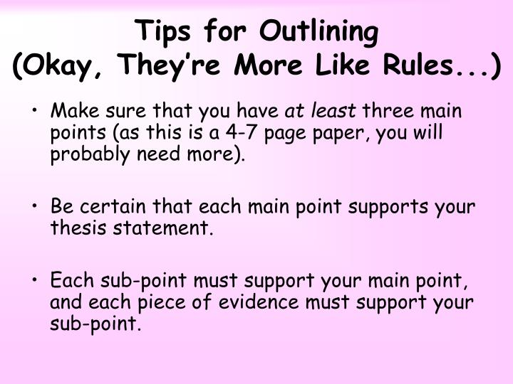 Tips for Outlining