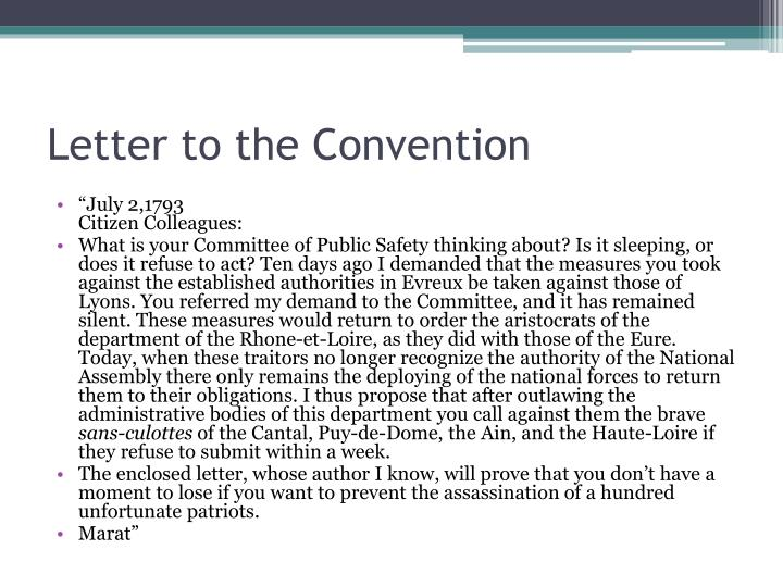 Letter to the Convention