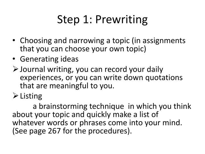 Step 1: Prewriting
