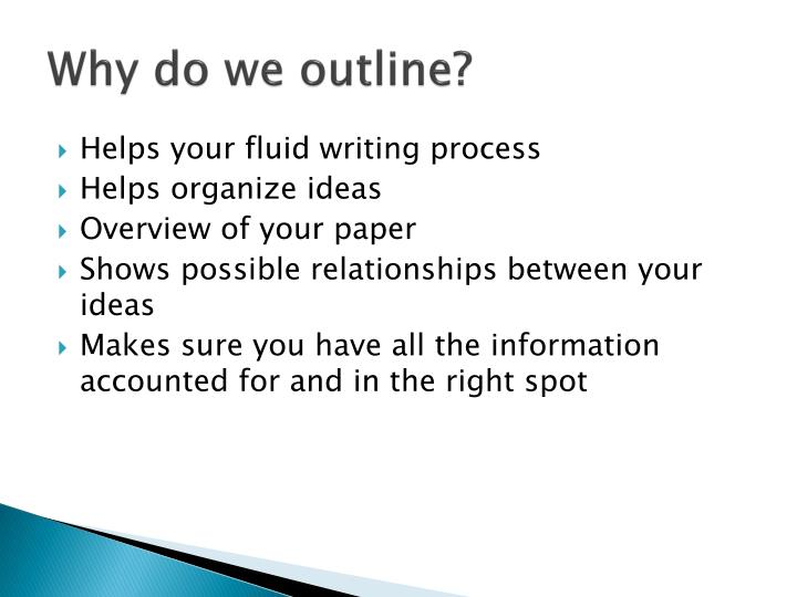 Why do we outline?