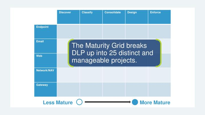 The Maturity Grid breaks DLP up into 25 distinct and manageable projects.