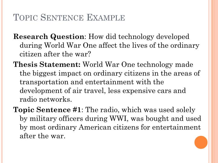 Topic Sentence Example