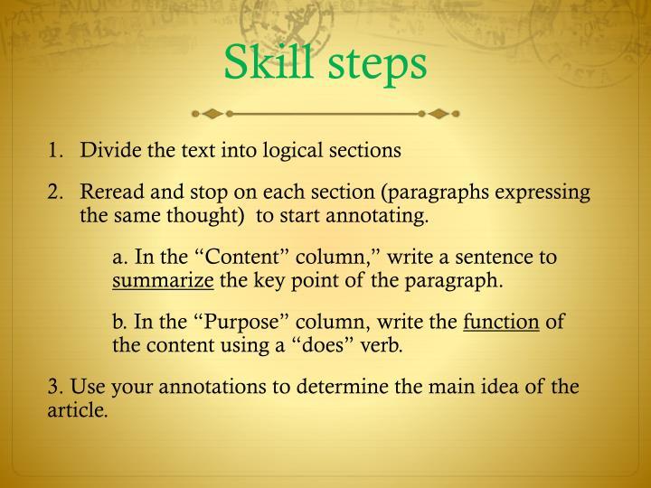 Skill steps