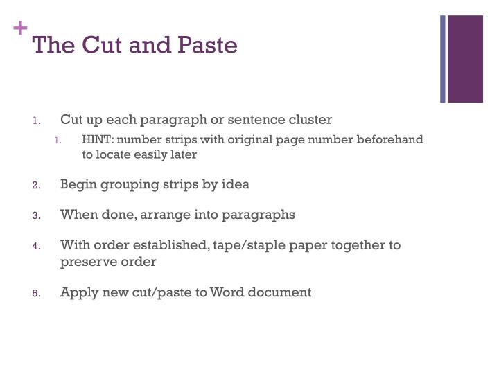 The Cut and Paste