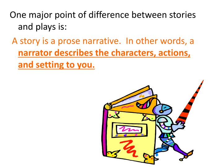 One major point of difference between stories and plays is: