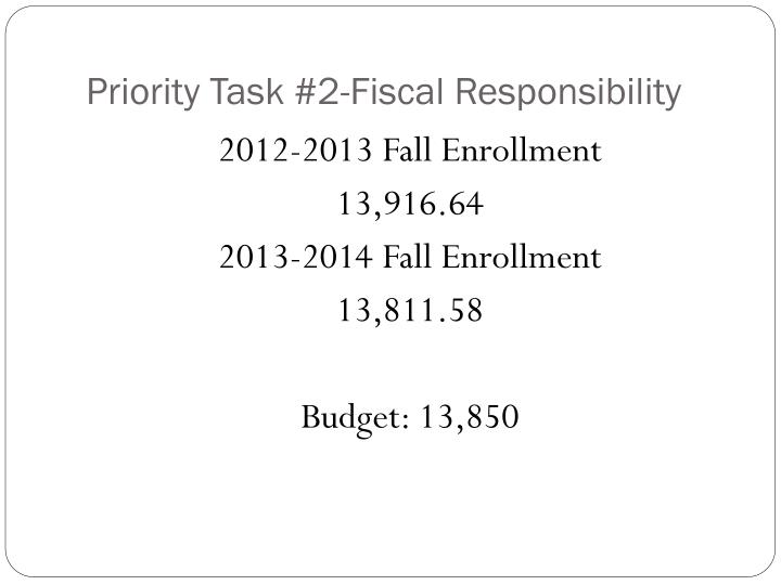 Priority Task #2-Fiscal Responsibility