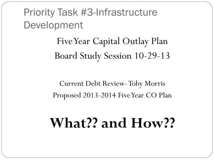 Priority Task #3-Infrastructure Development
