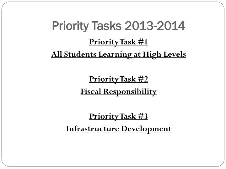 Priority Tasks 2013-2014