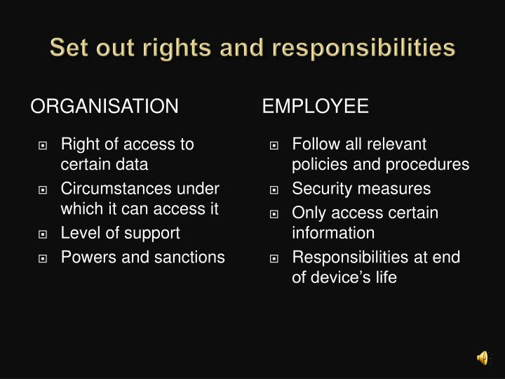 Set out rights and responsibilities