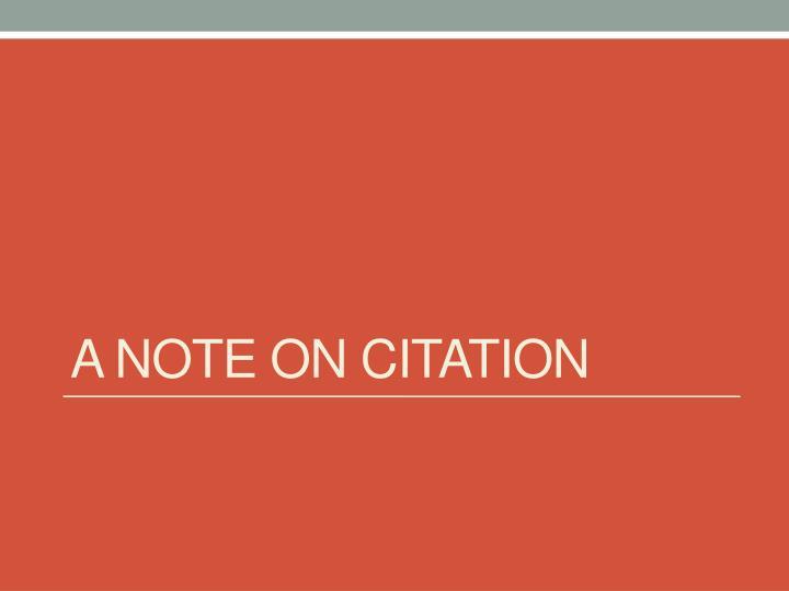A note on citation