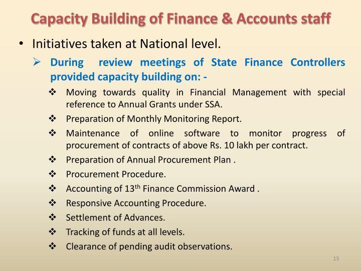 Capacity Building of Finance & Accounts staff