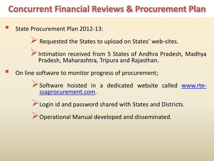 Concurrent Financial Reviews & Procurement Plan