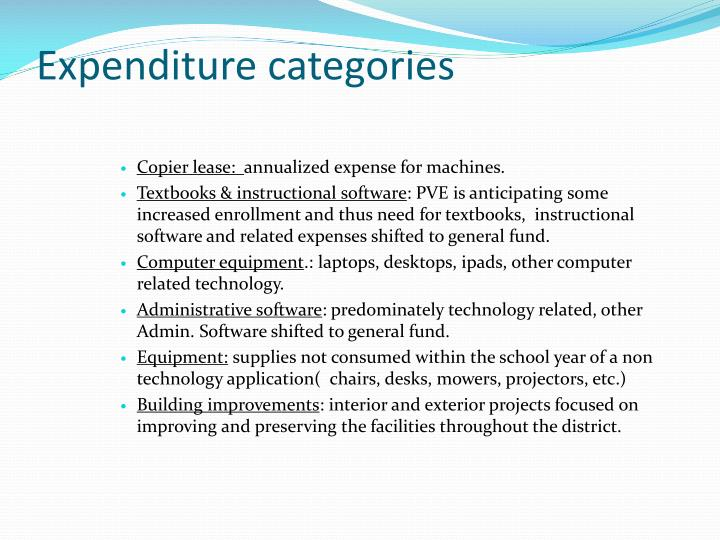 Expenditure categories