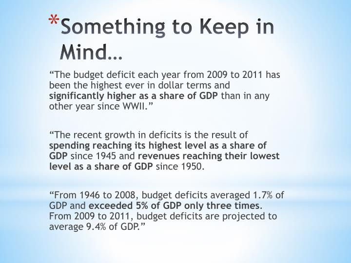 """""""The budget deficit each year from 2009 to 2011 has been the highest ever in dollar terms and"""
