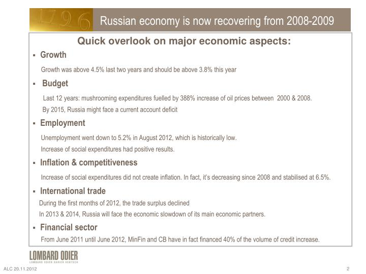 Russian economy is now recovering from 2008-2009