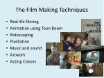 the film m aking techniques