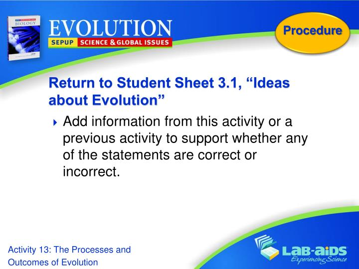 "Return to Student Sheet 3.1, ""Ideas about Evolution"""