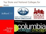 top state and national colleges for music