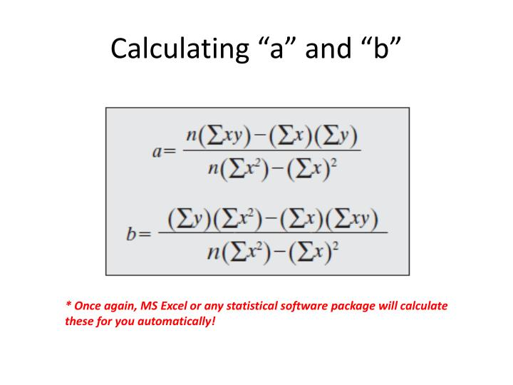 """Calculating """"a"""" and """"b"""""""
