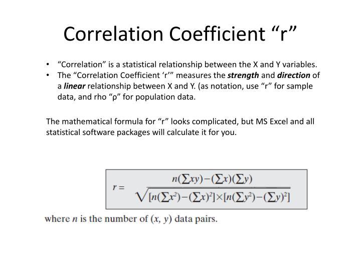 "Correlation Coefficient ""r"""