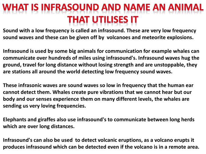 WHAT IS INFRASOUND AND NAME AN ANIMAL THAT UTILISES IT