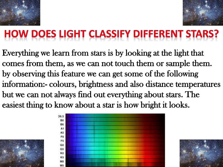 HOW DOES LIGHT CLASSIFY DIFFERENT STARS?