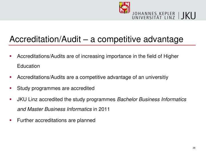 Accreditation/Audit – a competitive advantage