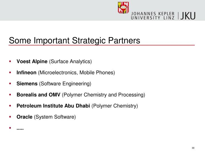 Some Important Strategic Partners