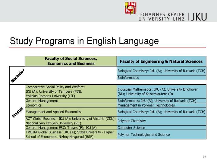 Study Programs in English Language