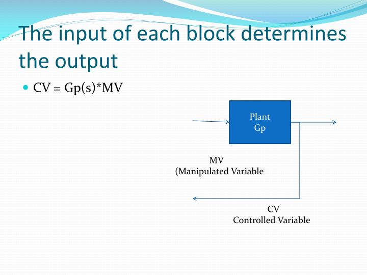 The input of each block determines the output