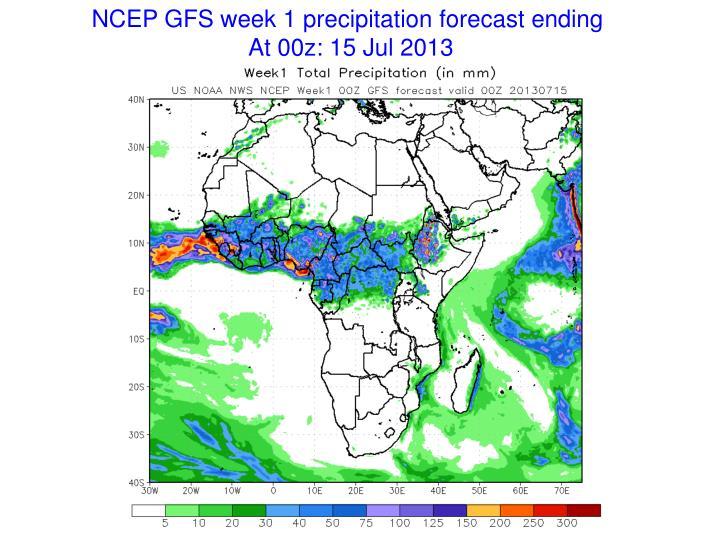 NCEP GFS week 1 precipitation forecast ending