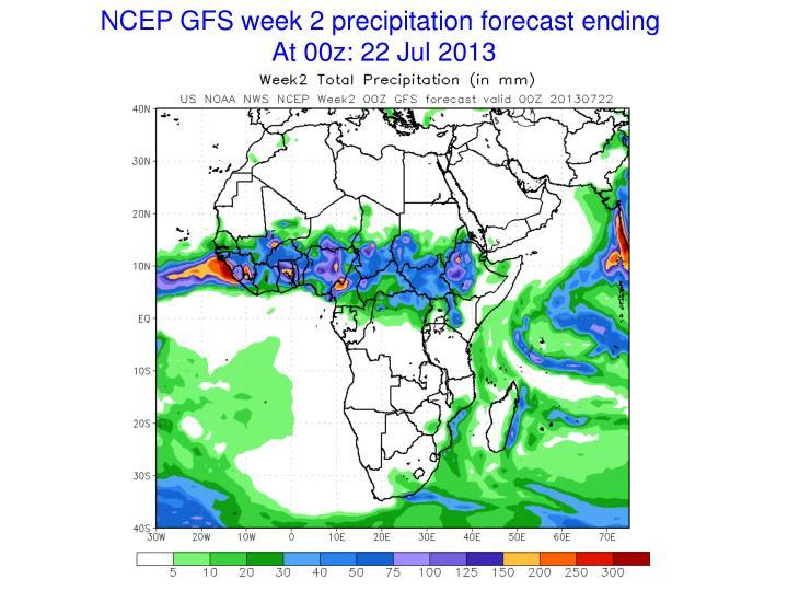 NCEP GFS week 2 precipitation forecast ending