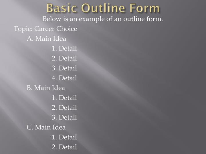 Basic outline form