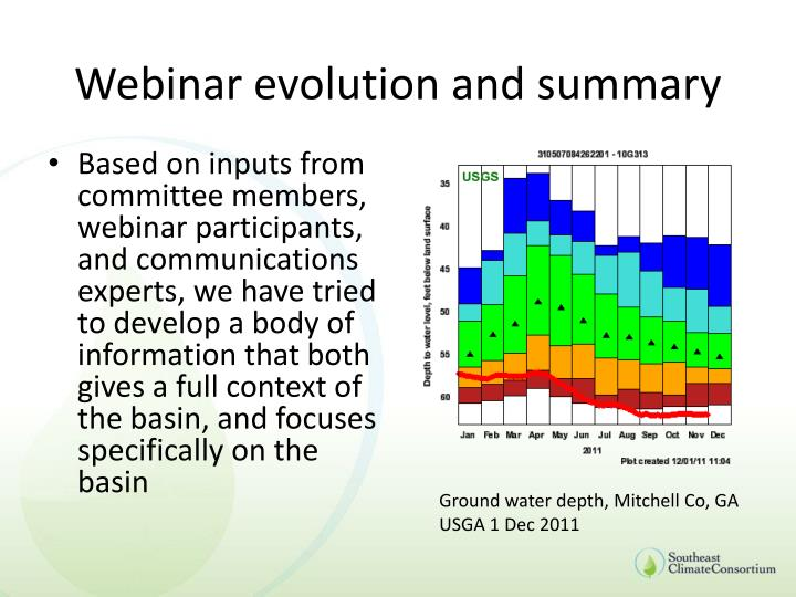 Webinar evolution and summary