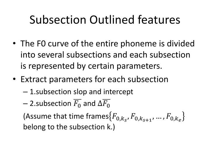 Subsection Outlined