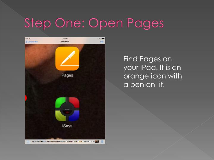 Step One: Open Pages