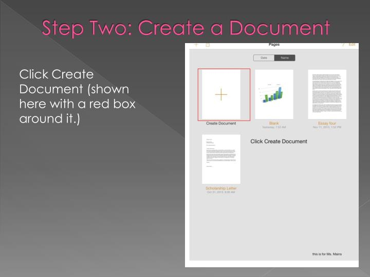 Step Two: Create a Document