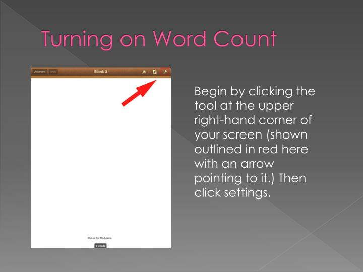 Turning on Word Count