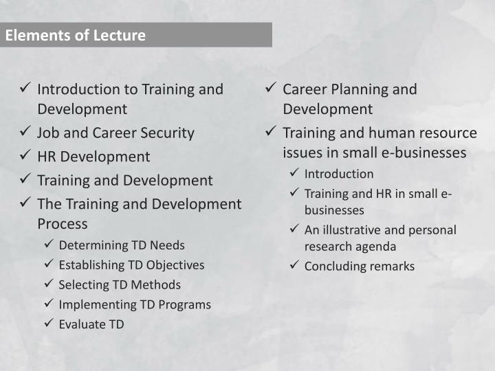 Elements of Lecture