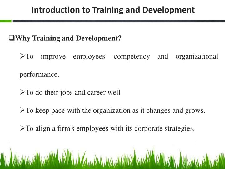 Introduction to Training and Development