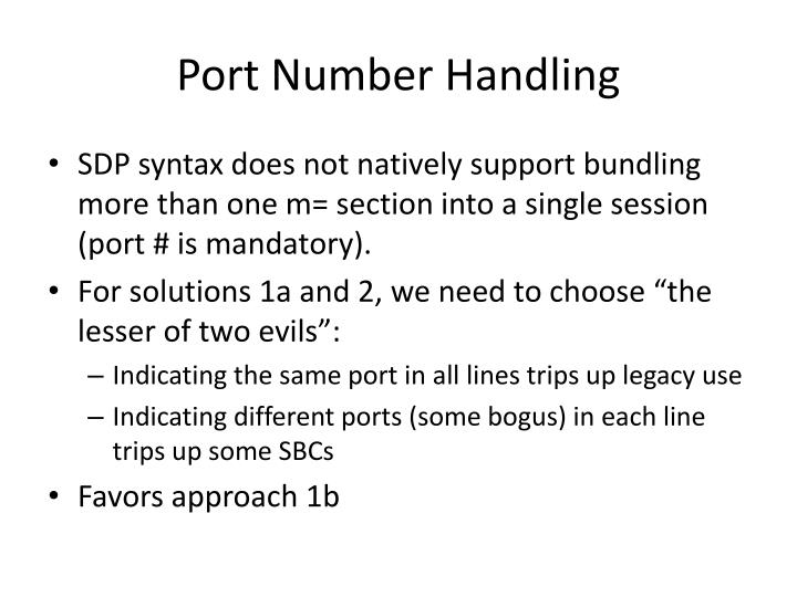 Port Number Handling