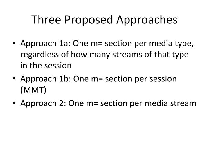 Three Proposed Approaches