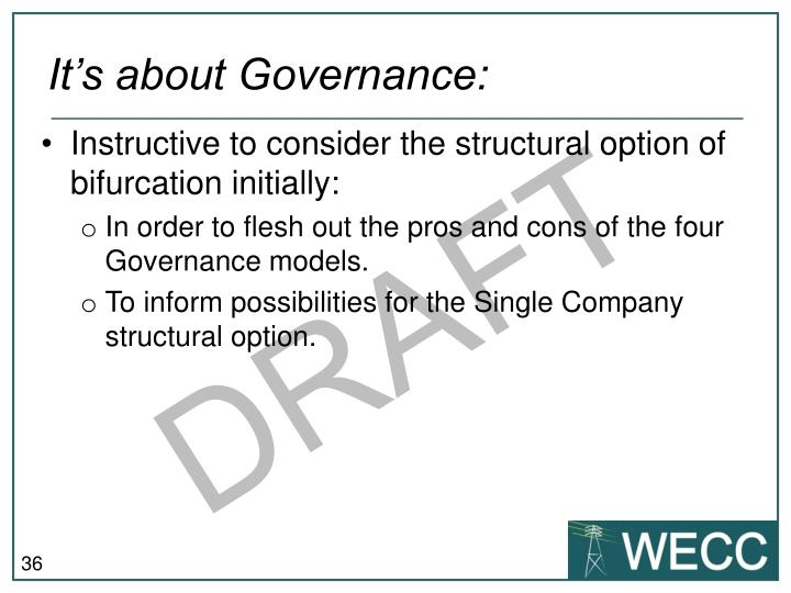 It's about Governance: