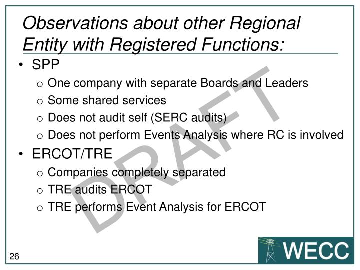 Observations about other Regional Entity with Registered Functions: