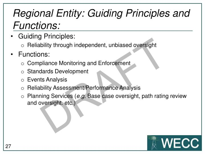 Regional Entity: Guiding Principles and Functions: