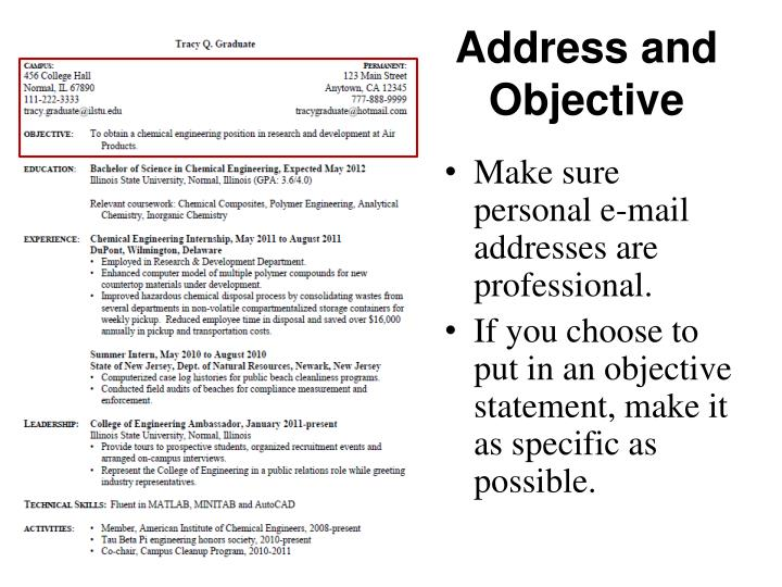 Address and Objective