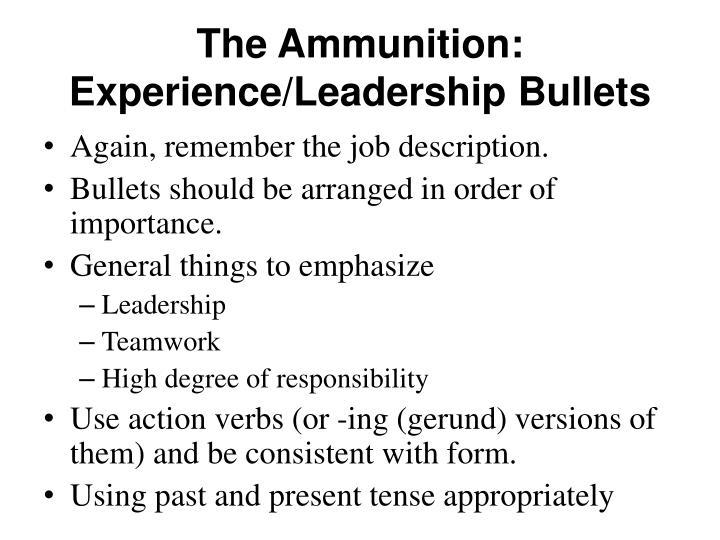 The Ammunition: Experience/Leadership Bullets