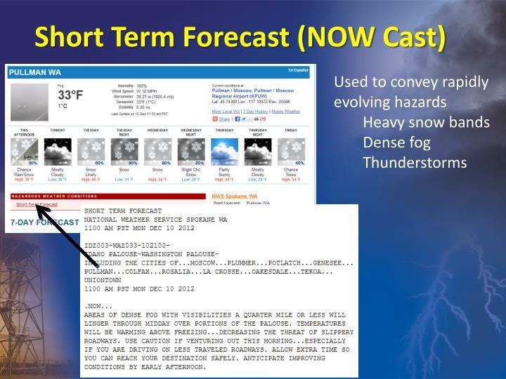 Short Term Forecast (NOW Cast)