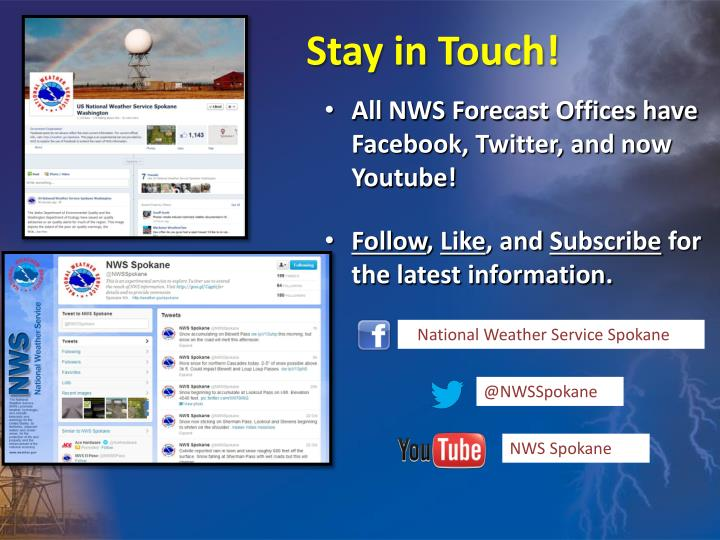 All NWS Forecast Offices have Facebook, Twitter, and now Youtube!